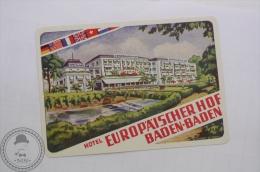 Hotel Europaischer Hof, Baden Baden - Germany - Original Hotel Luggage Label - Sticker - Hotel Labels