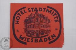 Hotel Stadtmitte, Wiesbaden - Germany - Original Hotel Luggage Label - Sticker - Etiquetas De Hotel