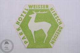 Park Hotel Weisser Hirsch, Dresden - Germany - Original Hotel Luggage Label - Sticker - Hotelaufkleber