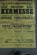 23 - SAINT SEBASTIEN - TRES BELLE AFFICHE GRANDE KERMESSE 15 AOUT 1965- FETE CHAMPETRE AVEC SAINT JUNIEN 87
