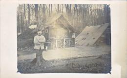 23769 -4 Carte Photo Campement Guerre 1914 Foret De Ressons Sur Matz Avec Carte Explication - Linverville -soldats Neige - Ressons Sur Matz