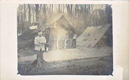 23769 -4 Carte Photo Campement Guerre 1914 Foret De Ressons Sur Matz Avec Carte Explication - Linverville -soldats Neige
