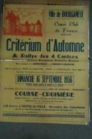 23 - BOURGANEUF- TRES BELLE AFFICHE CRITERIUM D� AUTOMNE CANOE CLUB - 16-9-1956-IMPRIMERIE ROUER- CHAMPEVAL- G. CHAZETTE