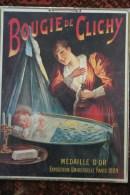 """75 - PARIS - TRES BEAU CARTON AFFICHE """" BOUGIE DE CLICHY """" MEDAILLE D�OR EXPOSITION UNIVERSELLE 1889- BEBE- LANDEAU-"""