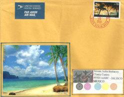 Vue De La Plage D'Hagatña Sur L'île De Guam,Poste Aérienne, Sur Lettre Adressée  Au Mexique. Deux Photos - Guam