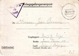"""KRIJGEGEVANGENEN Brief  Blinde Stempel """" 15.2.41""""  + """"STALAG IV A  / 4 / GEPRÜFT"""" Naar Ans   (=HOHNSTEIN) - Guerre 40-45"""