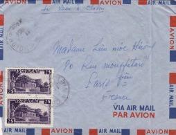 VIETNAM 1954 - 2x2$ Frankierung Auf LP-Brief Gelaufen Nach Paris - Vietnam