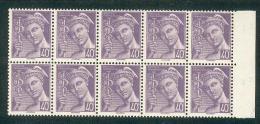 France - 1938/42 - Type Mercure - Superbe Bloc De 10 Valeurs Avec BdF - 40 C. Violet - Y&T N°548 ** Neuf Luxe 1er Choix - Unused Stamps