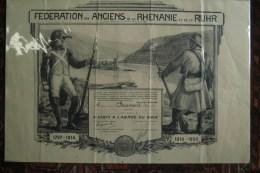 MILITARIA GUERRE 1914-1918- TRES BEAU DIPLOME FEDERATION ANCIENS RHENANIE ET RUHR- M. BRAMONT LEONARD ARMEE DU RHIN - Affiches