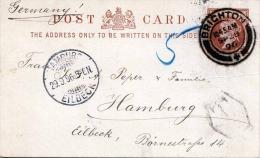 ENGLAND 1896 - Ganzsache Nachporto (T-Stempel) Gelaufen Von Brighton Nach Hamburg - Covers & Documents