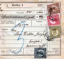 SLOWENIEN 1922 - Schöne Seltene 7 Fach Misch-Frankierung Auf Paketkarte Von Maribor Nach Osijek - Slowenien