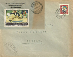 Brief  Dürrenäsch - Lugano Poste Restante  (Vignette Chocolat Zürcher)       1926 - Vecchi Documenti