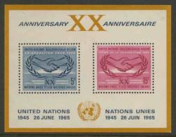 United Nations New York 1965 Mi B3 YT B3 Sc 145 ** I.C.Y Emblem – 20th Ann. United Nations + Int. Co-op. Year - Blokken & Velletjes