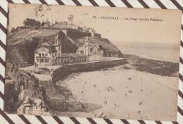 D145 50 GRANVILLE LA PLAGE VUE DES FALAISES 1923 OU 28 TIMBRE CACHET - Granville