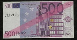 "Test Note (Educativ-Geld) ""VALENCIA"" 500 EURO, Beids. Druck, RRRRR, UNC -, 140 X 72 Mm, 1998 - EURO"