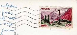 ANDORRA 1965? - Schöne Frankierung Auf Ak Valls D'Andorra, Les Escaldes Hostal Matriu, Alte Autos Vor Hotel - Briefmarken