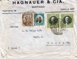 CHILE 1933 - 4 Fach Frankierung Auf Geschäftsbrief Von Santiago > Basel - Chile