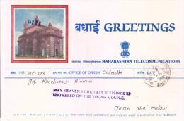 India Greetings Telegram Originated From Calcutta To Bombay - Brieven En Documenten