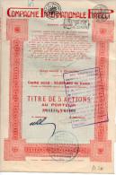 COMPAGNIE INTERNATIONALE PIRELLI-TITOLO DI 5 AZIONI -CAPITALE SOCIALE 50,000.000 FRANCS-FIRMA AUTOGRAFA DI PIERO PIRELLI - Azioni & Titoli