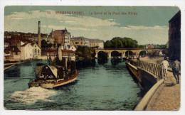 SARREGUEMINES---La Sarre Et Le Pont Des Alliès (animée, Beau Bateau à Vapeur ) N°19 éd Bergeret--colorisée - Sarreguemines