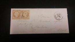 Napoléon III N° 21 Avec Oblitération Losange 3117 En Paire Sur Lettre  TB - 1862 Napoleon III