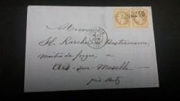 Napoléon III Lauré N° 28B Avec Oblitération Losange 2240 En Paire Sur Lettre  TB - 1863-1870 Napoleon III With Laurels