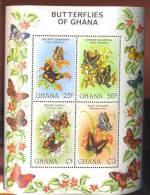 GHANA   793 ; MINT NEVER HINGED MINI SHEET OF BUTTERFLIES-INSECTS  FLOWERS - Butterflies