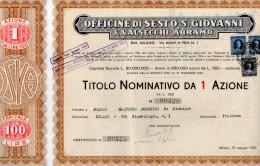 OFFICINE DI SESTO S.GIOVANNI & VALSECCHI ABRAMO-TITOLO NOMINATIVO DA 1 AZIONE-MILANO-30-5-1950 - Industrie