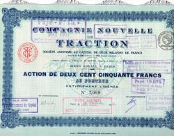 COMPAGNIE NOUVELLE DE TRACTION-ACTION DE DEUX CENT CINQUANTE  FRANCS-SIE'GE SOCIAL A PARIS - Transports