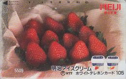 Télécarte Japon 7/11 - 5509 - FRAISE & CREMA GLACEE MEIJI - STRAWBERRY ICE CREAM Japan Phonecard - EIS - 105 U - Lebensmittel