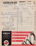 """FACTURE DE 1962-FOURNITURES AUTOMOBILES LOISEAU ET Cie-PUB  """" SERFLEX  """" - Automobil"""
