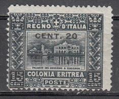 Eritrea  Scott No. 52  Unused Hinged   Year  1916 - Eritrea