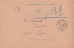 """Griffe  """" HOPITAL MILITAIRE DE LUNÉVILLE"""" + Cachet """" DOLE DU JURA 24/12/15"""" Sur Lettre FM - Poststempel (Briefe)"""