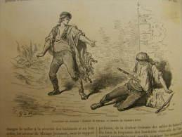 Espana - Gustave Doré - Grenade - L'escrime Au Coteau : Lanzar La Navaja -  Engraving 1865 TdM1865.283 - Estampas & Grabados