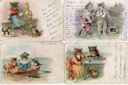 Illustrateur Inconnu - Chat Humanisé - X 4 - Illustrators & Photographers