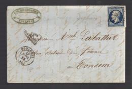 FRANCE N° 14 B (bleu Noir) Obl. S/Lettre Entiére PC 3383 Toulouse - 1853-1860 Napoleon III