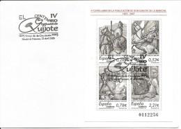 2005-ED. 4161 H.B. IV CENT. DE '' EL QUIJOTE '' EN SOBRE CON MAT. 1er. DIA DE ALCALÁ DE HENARES - FDC