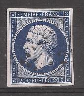Empire N° 14 A B, BLEU NOIR INTENSE Obl Pc  21 De AILLAS, Gironde, INDICE 17, Belle Nuance   TTB, RARE !!!!!! - 1853-1860 Napoléon III