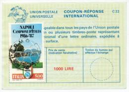COUPON-REPONSE INTERNATIONAL - 1000 LIRE + FRANCOB. DA 500 LIRE. 1987 - 1981-90: Storia Postale