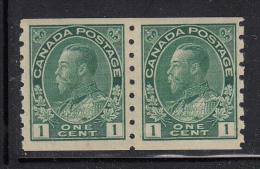 Canada MNH Scott #125ii 1c George V Admiral Issue, Blue Green, Coil Pair - 1911-1935 Règne De George V