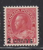 Canada MNH Scott #139 2c Surcharge On 3c George V Admiral Issue, Carmine - 1911-1935 Règne De George V