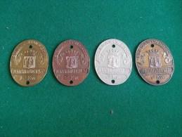 Plaatsrijtuig-plaatjes, Stad Antwerpen, 4 Stuks, 1e KW, 2de KW, 3de KW En 4de KW (medailles0294) - Kennzeichen & Nummernschilder