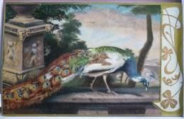 Litho Chromo Ajoutis Decor Bord Art Nouveau Illustrateur Chalkorit 347 Scheuerer Oiseau Paon Sur Mur - Pájaros