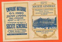 Calendrier Petit Format - Année 1920  - Publicité Société Générale - Siège Social , 29 Boulevard Haussmann PARIS - Calendriers