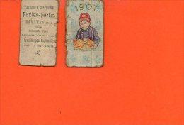 Calendrier Petit Format - Année 1907 - Patisserie, Confiserie FAVIER FORTIN à BAVAY (nord ) ( En L'état) - Calendriers
