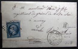 PC 562 + Cachet Type 15 + Boite Rurale  --  BUIS LES BARONNIES  --  DROME  --  LAC  --  1862  --  Indice 7+ - Storia Postale