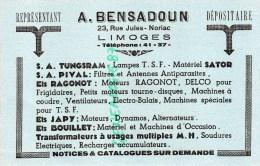 87 - LIMOGES - A. BENSADOUN 23 RUE JULES NORIAC- REPRESENTANT LAMPES TSF- RAGONOT- PIVAL- JAPY-BOUILLET - Blotters
