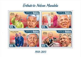 mld14108a Maldives 2014 Nobel Prize Nelson Mandela s/s Dalai Lama Fidel Castro