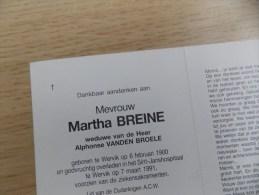 Doodsprentje Martha Breine Wervik 6/2/1900 - 7/3/1991 ( Alphonse Vanden Broele ) - Religione & Esoterismo