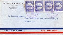GUATEMALA 1950 - 6 Fach Frankierung Auf FP-Brief Von San Marcos Nach Neustadt-Glewe - Guatemala